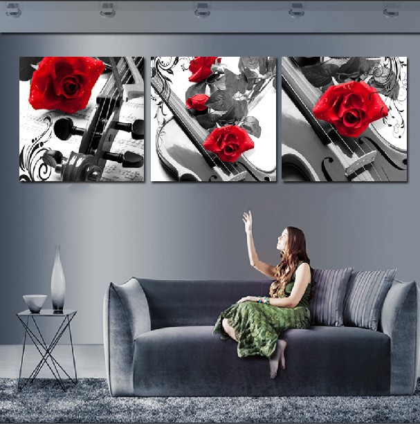 3 Panel Hot Modern Wall Painting Home Decorative Art Picture Paint On Canvas Prints Brilliant Red Roses And The Violin