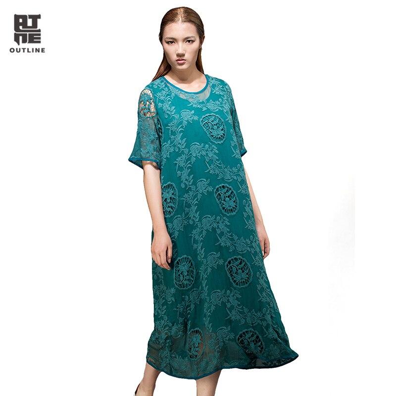 Outline Brand Loose Lace Dress Summer Unique Style Woman Dress Original Brand Casual Women Linen PrintingDresses L152Y014