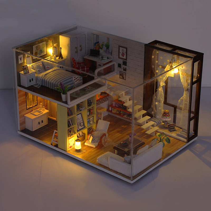 2018 New Diy Wooden Doll House Toy Dollhouse Miniature Assemble Kit With Led Furnitures Handcraft Miniature Dollhouse Simple C diy wooden handcraft miniature provence dollhouse voice activated led light