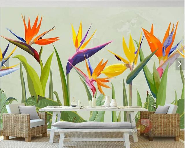 Custom 3d Wallpaper Mural Flowers Tropical Plants Palm Leaves