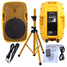 STARAUDIO SSYM-15 Yellow PA 15″ 3500W Powered Lively DJ Stage USB SD FM BT Speaker W/ Stand Microphone