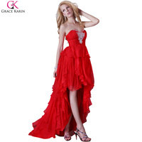 Grace Karin Red Long Prom Dresses 2016 Crystal Beaded High Low Prom Dress Short Front Long