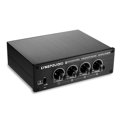 Lynepauaio Headphone Splitter Headphone Amplifier Comparator 2 In 8 Out, Independent Volume Adjustment, 16-600 Ohms Per Channe