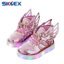 Children Baby Luminous Shoes Boys Girls Flying Wing Light Up Colorful Glowing Sneakers Kids Leisure Sports Christmas Halloween