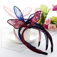 1ps Women Lovely Hairband Bow Knot Hair Hoop Rabbit Ears Elastic Lace Oranments Fabric Hair Hoop For Girls Hair Weath 2018 Hot(China)