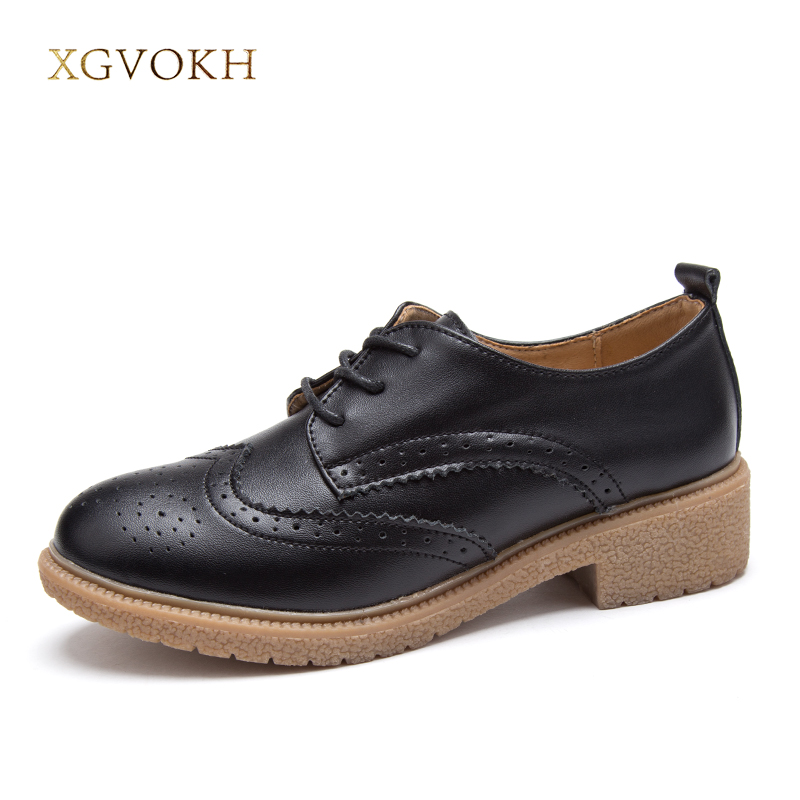 XGVOKH Brand Bullock genuine leather shoes Oxford Women's Casual Flats Fashion Comfortable Dress womens shoes zapatos de mujer