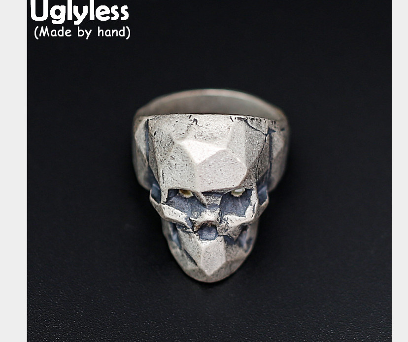 Uglyless Real S 925 Sterling Silver Skeleton Gothic Men Finger Rings Cool Exaggerated Skull Ring Personalized Steam Punk Jewelry xiagao cool punk real 316l stainless steel red ring men s big red crystal red stones finger rings for man gothic casting ring