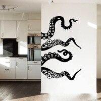 MCTUM Marka Duvar Çıkartması Vinil Sanat Tasarım Resimleri Ahtapot Tentacles Balık Derin Deniz Okyanus Hayvanlar Moda Yatak Odası Banyo Ev Dekor