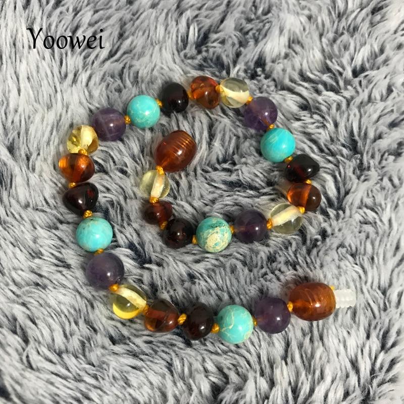 Yoowei Natural Baby Amber Bracelet/Necklace Turquoise Amethyst Gems diy Custom Adult Kid Baltic Amber Teething Jewelry Wholesale
