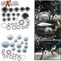 LJBKOALL Motorcycle Frame Hole Caps Frame Cap Set For BMW R1200 R NINE T R9T 2014 2015 2016 Chrome Black 1 Set Motorbike Covers