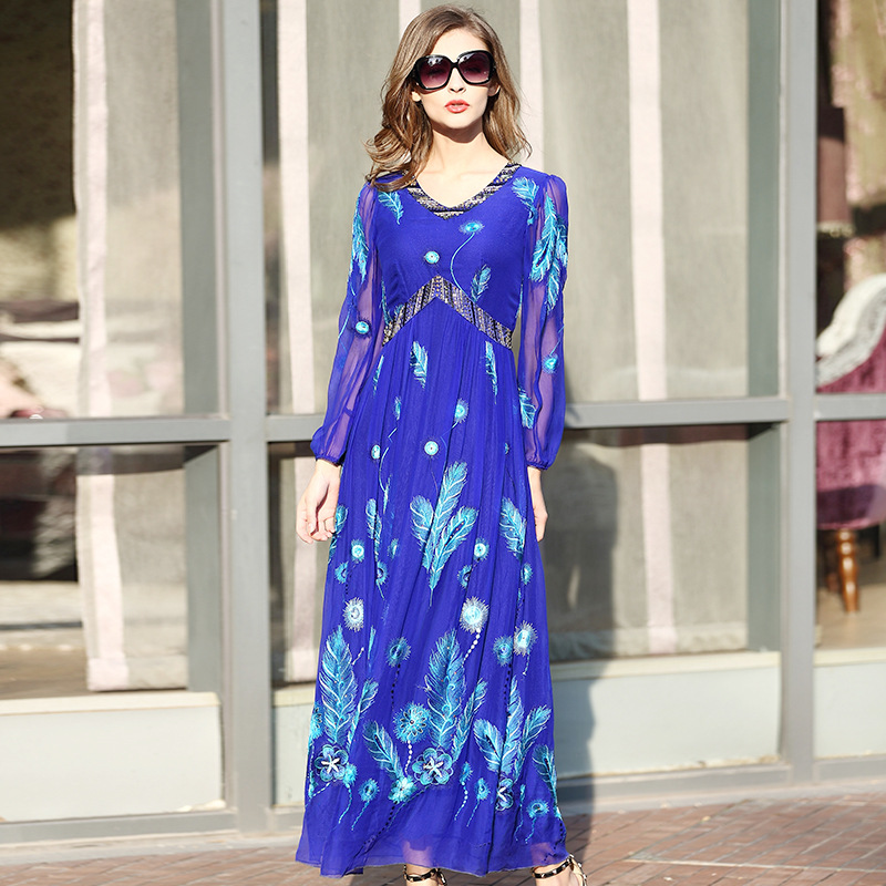 Nobility Real Silk Dresses For Women Embroidery Flower Plus size Long Dress Mulberry silk For female 2018 autumn winter