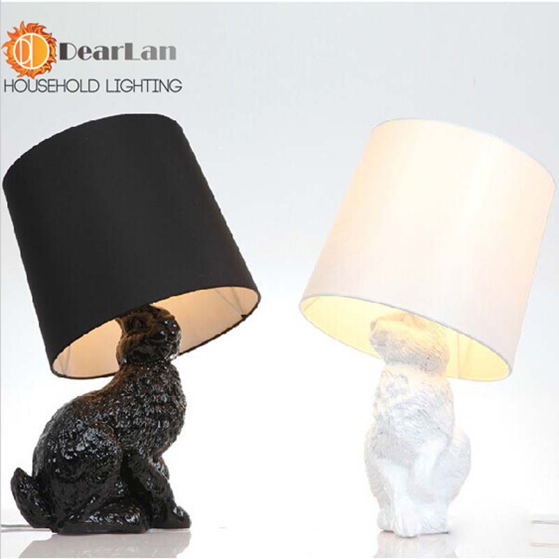 Modern Table Lamps With Black/White Shade Lovely Resin Rabbit Table Lights For Bedside Decoration For Bedroom