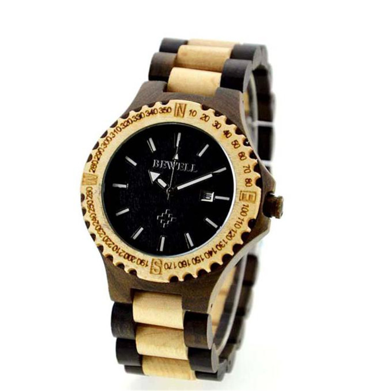 Подробнее о Bewell Men's Natural Wooden Wristwatch Wood Watch Quartz with Date with Box Analog Luminous Wristwatch  Men Watch 2016 Hot Sale relogio masculino men s natural wooden wristwatch wood watch quartz with date with box business watch men watch