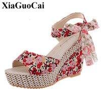 Women Shoes High Heels Wedges Sandals Women Sweet Mesh Open Toe Sandals Canvas Shoes Casual Shoes