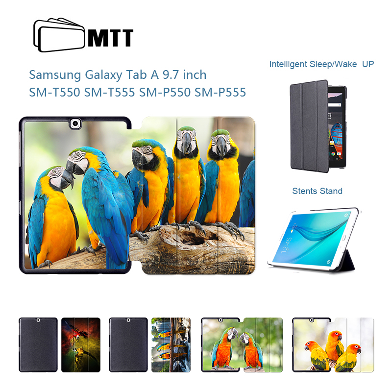 MTT Parrot Painted Slim TriFold PU Leather <font><b>Cover</b></font> <font><b>Case</b></font> For <font><b>Samsung</b></font> <font><b>Galaxy</b></font> <font><b>Tab</b></font> A 9.7 <font><b>SM</b></font> T555C <font><b>T550</b></font> P555C Magnetic Folio Stand <font><b>Case</b></font> image
