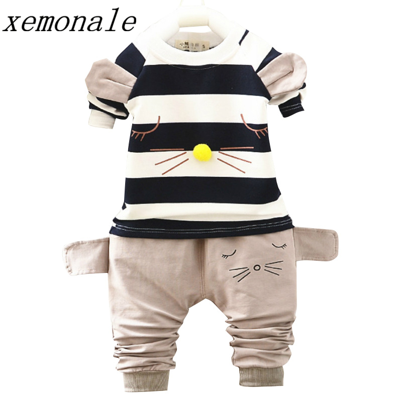 Hot Fashion Baby Boys Girls Clothing Sets Children Brand Cat T-shirt Pants 2Pcs Suits Autumn Kids Clothes Toddler Tracksuits spring newborn suits new fashion baby boys girls brand suits children sports jacket pants 2pcs sets children tracksuits