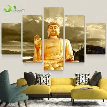 Comparación de precios 5 panel moderno impreso oro Buda lienzo ...