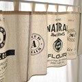 Frete grátis preto e branco moderno estilo minimalista cozinha half-painel de cortina de cozinha cortina café curto cortina