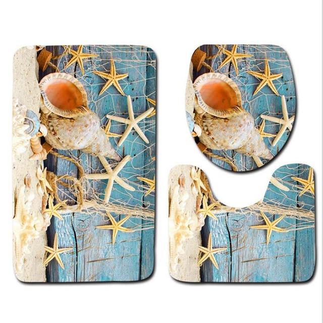 3 Pcs Vasca Da Bagno Zerbino s Serie Spiaggia Anti Slip da Bagno Zerbino Set 3D Tappeto Bagno Wc Tappetini Lavabile Bagno Zerbino set