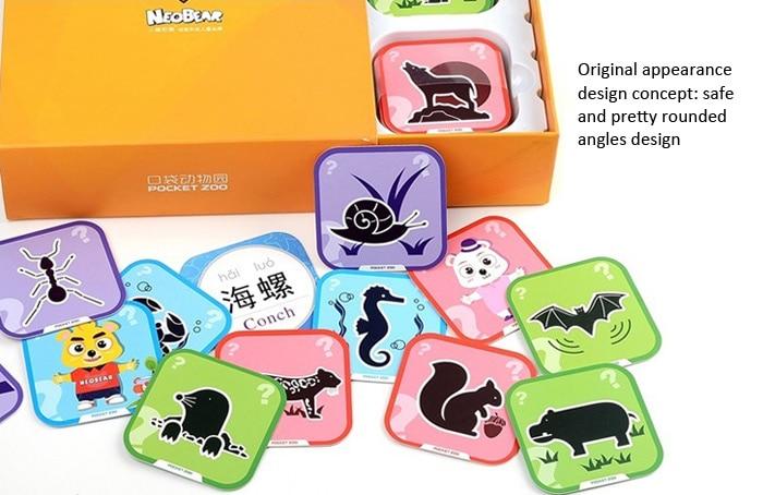 ФОТО New NEOBEAR Magic Pocket Zoo 3D Animal AR Stereo Cards Kids Early Education 96Pcs / Set Cartoon Intelligence Toys Hot Selling