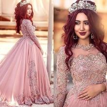 Vestidos De Novia Müslüman Uzun Kollu Pembe Boho düğün elbisesi 2019 Artı Boyutu İnciler düğün elbisesi es Brautkleid Elbise De Mariage