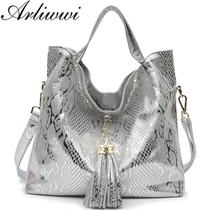 Image 1 - Arliwwi Brand New Quality Serpentine Grain Suede Cowhide Classical Designer Genuine Leather Handbags With Elegant Tassel GB01