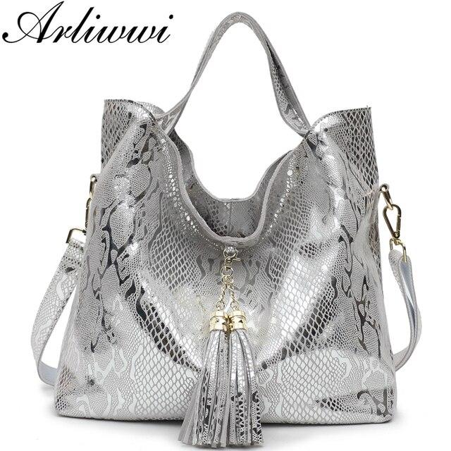 Arliwwi Brand New Quality Serpentine Grain Suede Cowhide Classical Designer Genuine Leather Handbags With Elegant Tassel GB01