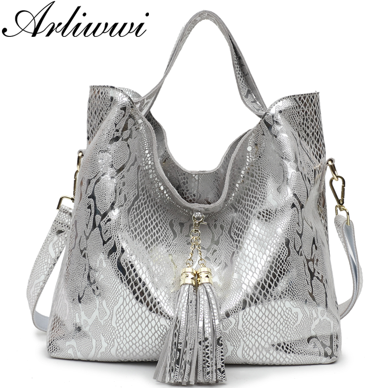 Arliwwi Brand New Top Quality Serpentine Grain Suede Cowhide Classical Designer Genuine Leather Handbags With Elegant Tassel