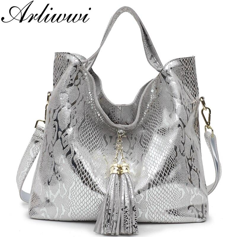 Arliwwi Brand New Top Quality Serpentine Grain Suede Cowhide Classical Designer Genuine Leather Handbags With Elegant Tassel