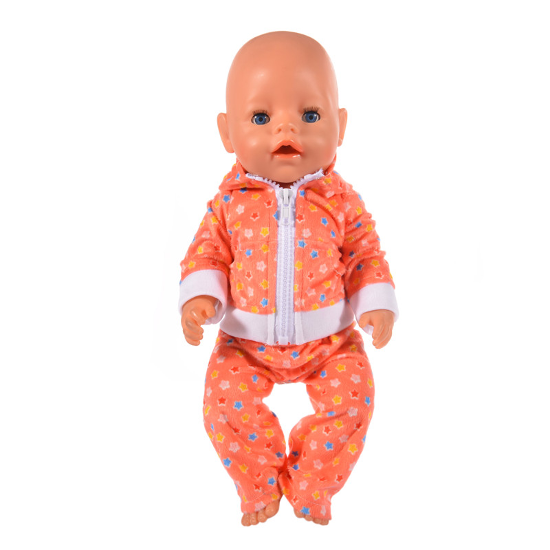 Stylish orange casual sportswear for 43cm newborn baby zap doll &18 inch American Girl Doll Clothes n669. american girl doll clothes superman and spider man cosplay costume doll clothes for 18 inch dolls baby doll accessories d 3