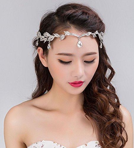 Remedios Elegant Leaf Design Wedding Crown Tiara Hair Jewelry Rhinestone Bridal Bridesmaid Headpiece Headband (4)