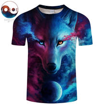 Where Light And Dark Meet by JoJoesart Wolf 3d T-shirt Drop Ship Top Tee Short Sleeve Camiseta Round Neck Tshirt Fashion T-shirt