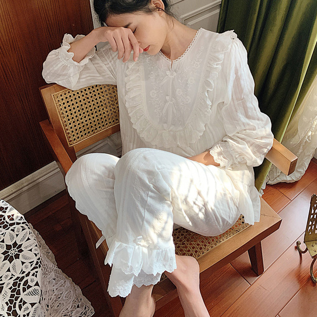 Womens Lolita Pajama Sets.Lace Embroidered Flowers Tops+Long Pants.Vintage Ladies Pyjamas Set.Victorian Sleepwear Loungewear