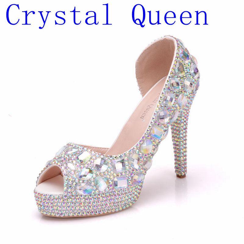 Crystal Queen Womens Wedding Shoes Peep Toe High heels Bride shoes Woman 11CM Heel Fish Toe