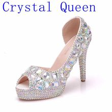 Crystal Queen Womens Wedding Shoes Peep Toe High heels Bride shoes Woman 11CM Heel Fish Toe Pumps Shallow Pumps Platform Shoes