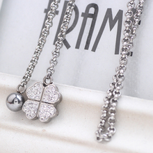 Fashion Flower Pendant Stainless steel Crystal Jewelry