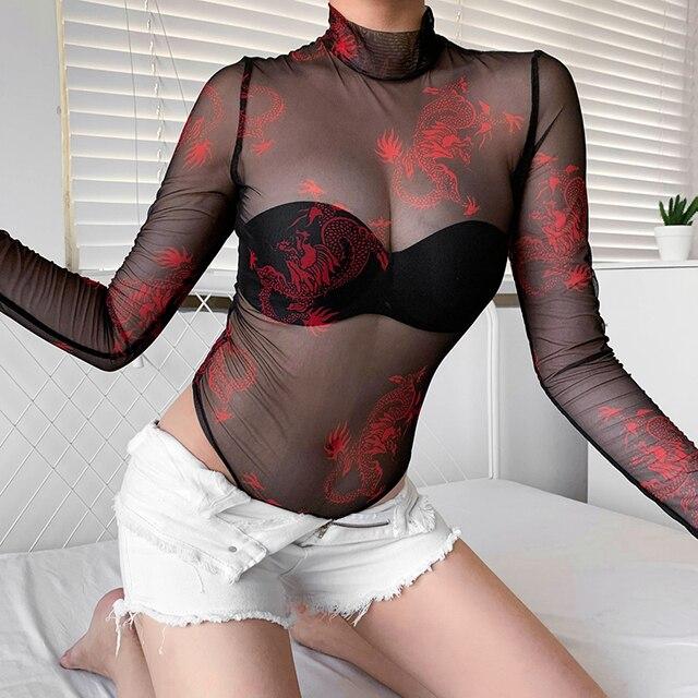 Rawpriter Sexy maille transparente Dragon body femmes 2019 été col roulé manches longues pouce voir à travers ouvert entrejambe body