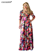 5XL 6XL Sexy Maxi Dress Big Size 2017 Women Autumn Plus Size Deep V Party Dress