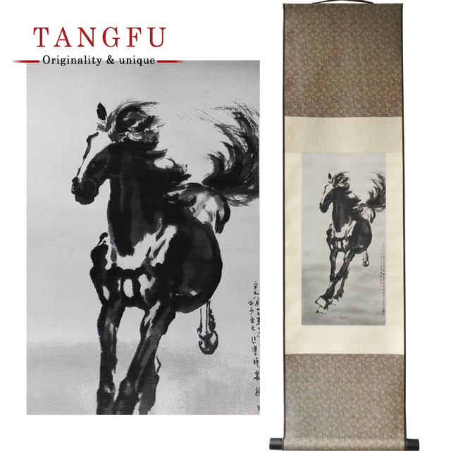 Personality Silk Scroll Painting Chinese large wall Decorative Paintings Famous horse riding Art print home decorative pictures
