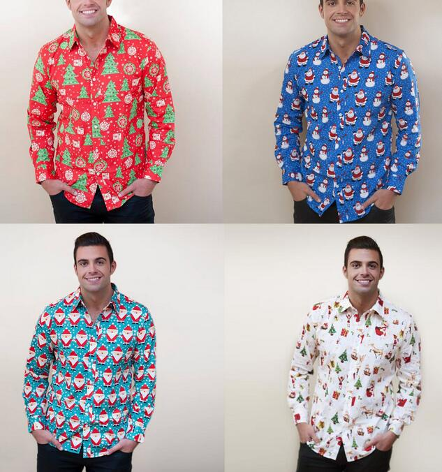 S-XL Christmas Men's Button Up Casual Shirts Slim Fit Long Sleeve Dress Shirts Tops