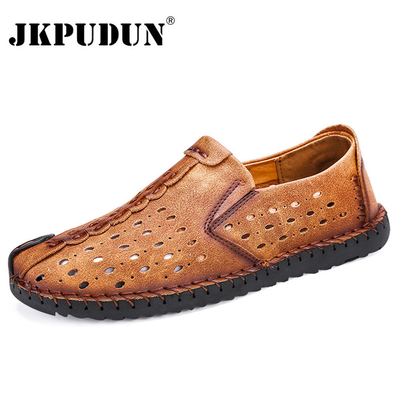 JKPUDUN Summer Men Shoes Casual Italian Slip on Mens Loafers Moccasins Genuine Leather Breathable Male Driving Shoes Plus Szie mycolen mens loafers genuine leather italian luxury crocodile pattern autumn shoes men slip on casual business shoes for male