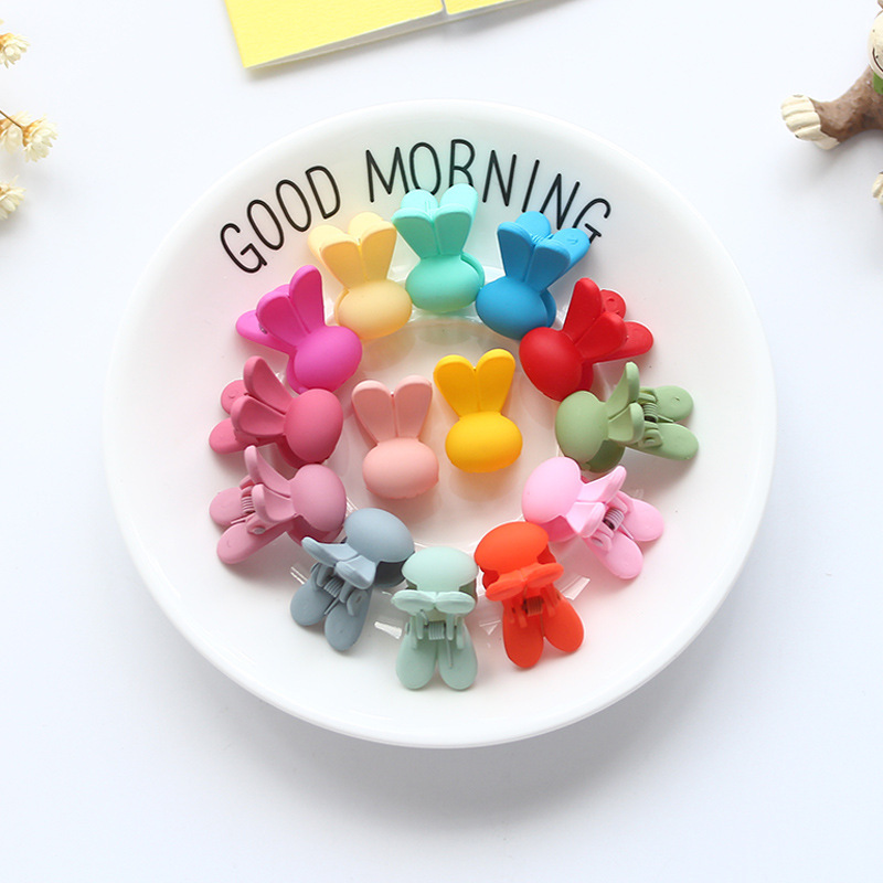 Korean Baby Girls Small Plastic Hair Clips Claws Clamps Cute Candy Color Rabbit Ear Children Hairpin Hair Accessories Wholesale