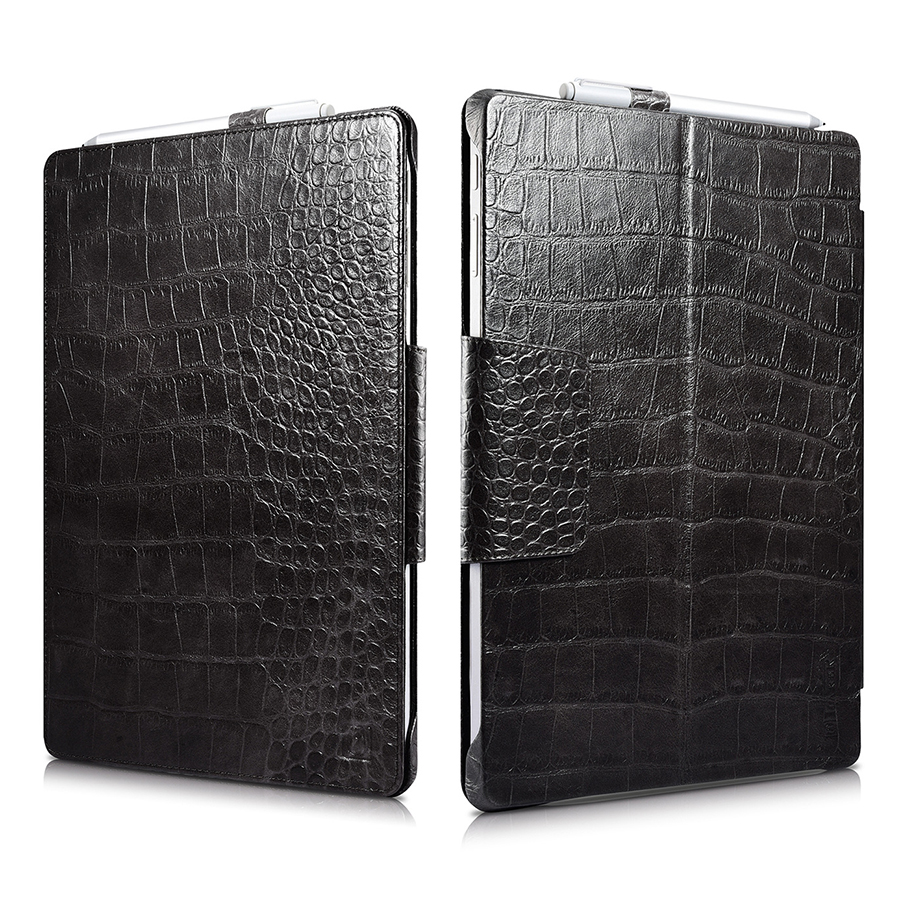 Crocodile Genuine Leather Folio Cover for Microsoft Surface Pro 4 5 6 12 3 Business Stand