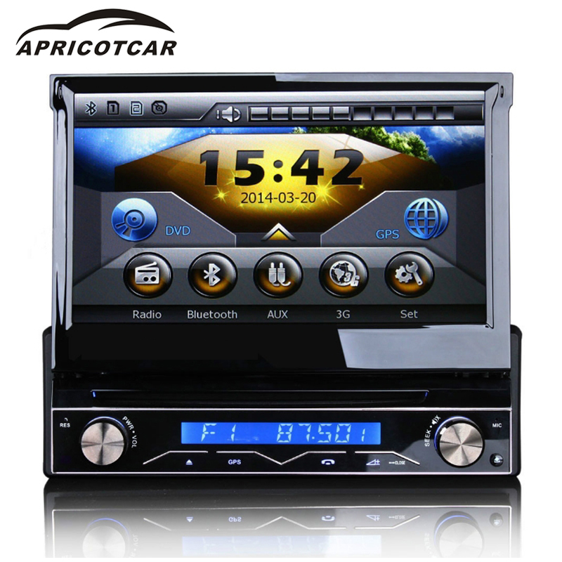 Car DVD Player for Universal 7 Inch 1din Retractable Touch Screen Car Multimedia Player DVD GPS Navigation Bluetooth FM 262 bluetooth v3 0 car dvd player