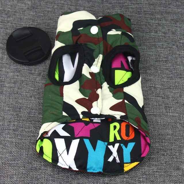 New hot Double-sided wear dog winter clothes warm vest Camouflage and letter Pet clothing coat for puppy Small Medium Large dogs