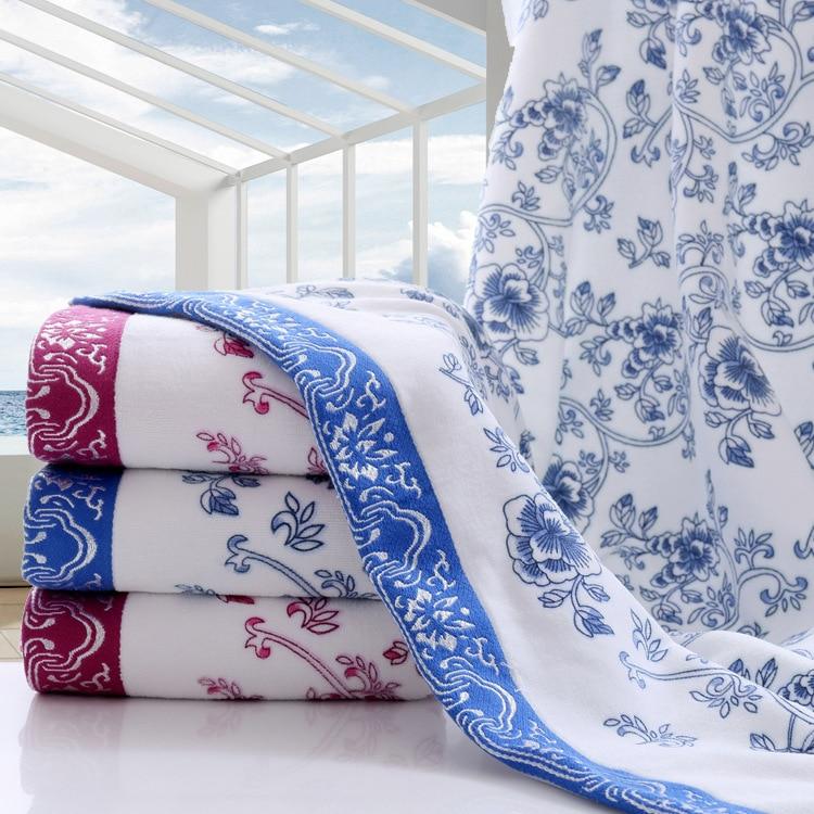 Extra Large 70 140cm 1pcs Blue And White Porcelain 100 Cotton Bath Towel Sports Towel Gym