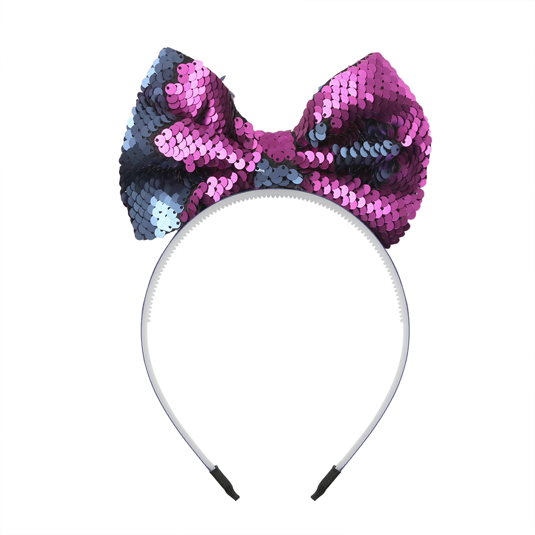 """1 Pc 5"""" Big Reversible Sequin Bows With Plastic Hairbands Colorful Rainbow Headbands For Birthday Party To Enjoy High Reputation At Home And Abroad"""