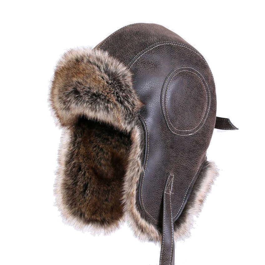 b9e99cb7a1a Faux Leather Fur Winter Warm Plush Earflap Bomber Hats Men Women s Russian Trapper  Hat Aviator Trooper