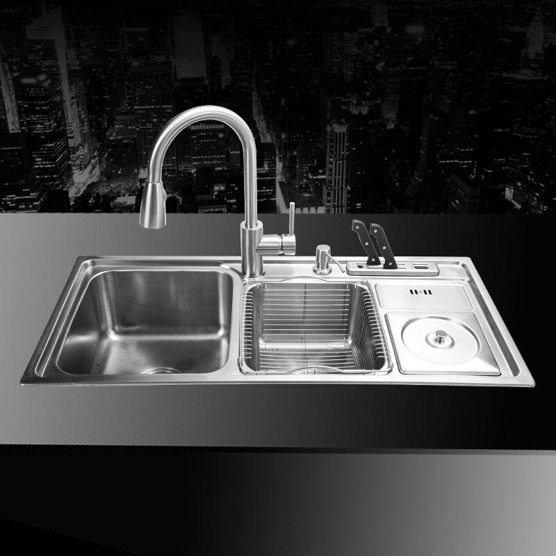 (910 430 210mm) In Acciaio Inox 304 Sottotop Handmade Spazzolato Saldatura  Senza Soluzione di continuità Lavello Da Cucina Set con disegno Scolapiatti  ... d25cb31d5048