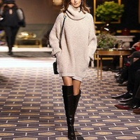 2017 Chic Fashion Autumn Turtleneck lady Baggy Casual Sweater Long Knitted Pullover Dress
